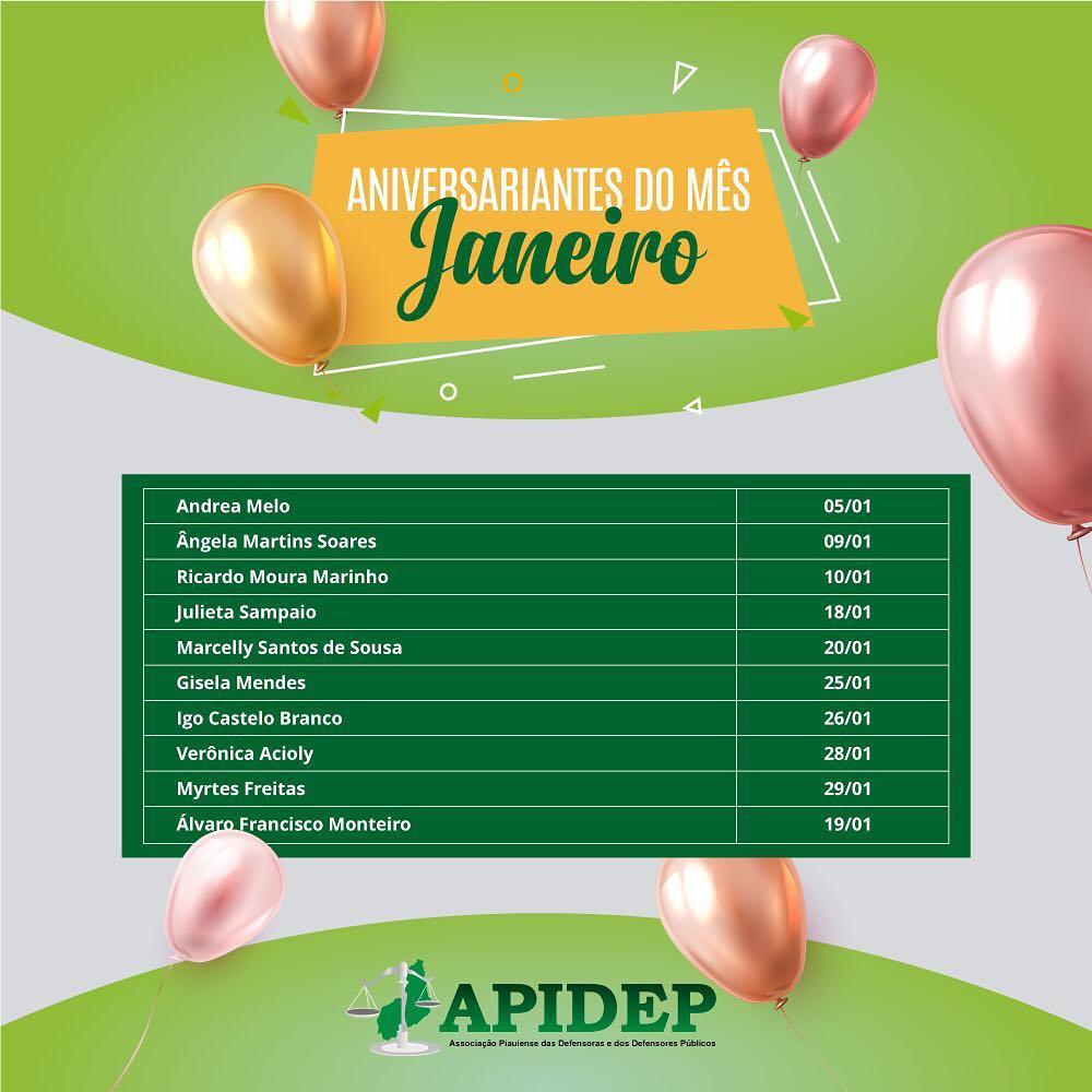 APIDEP cumprimenta aniversariantes do mês de janeiro