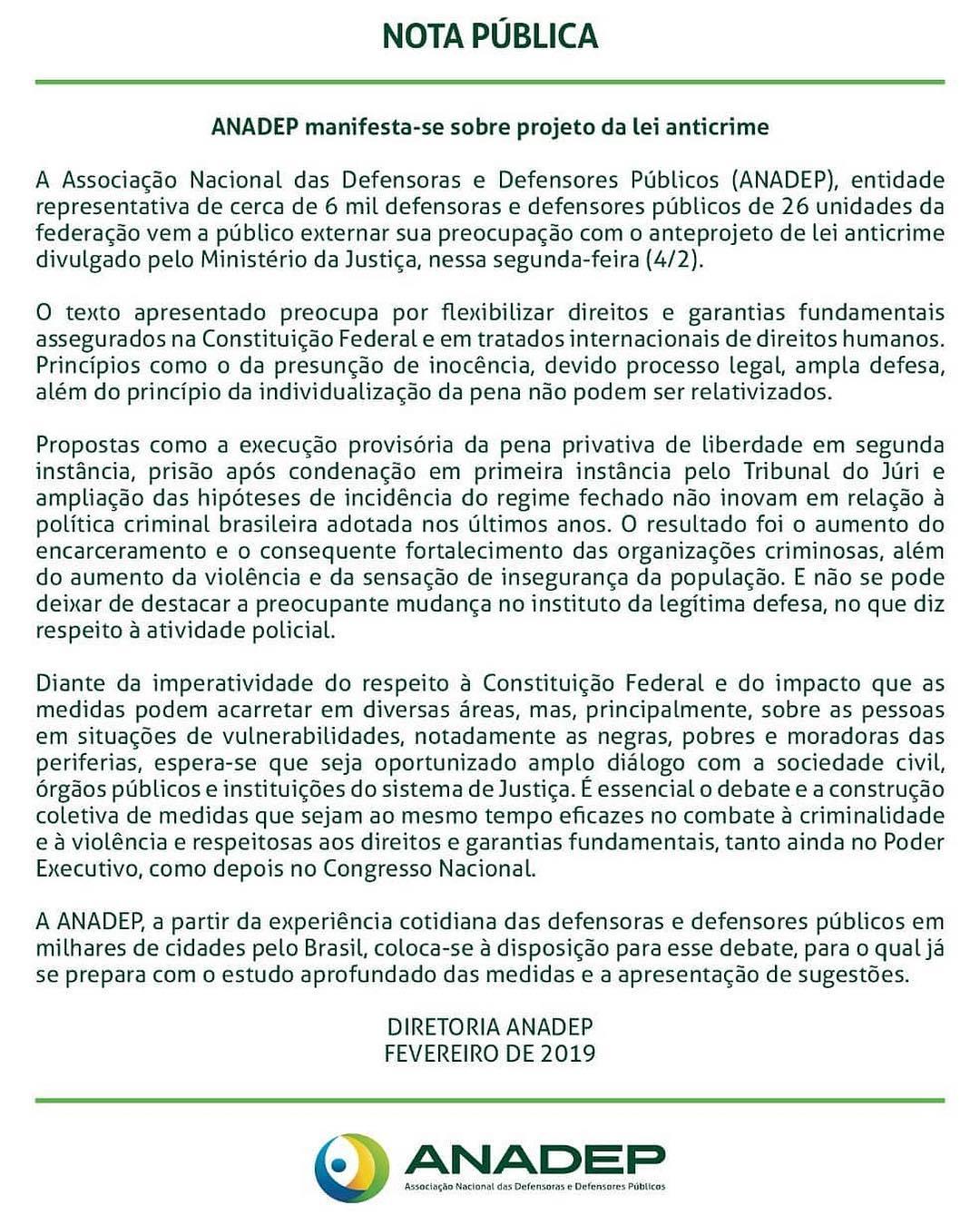 APIDEP manifesta-se sobre projeto de Lei Anticrime