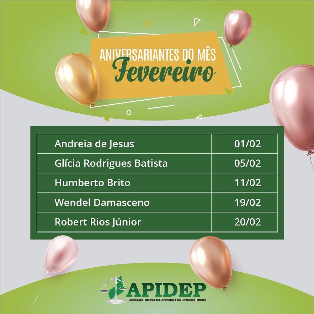 APIDEP cumprimenta aniversariantes do mês de fevereiro
